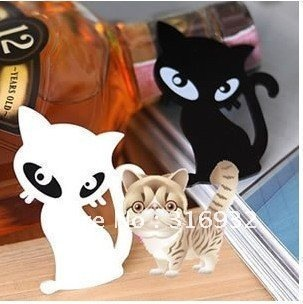 Free shipping 50 pieces/lot cute cat brooch ouch breastpin ( black , white )