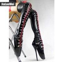 Jialuowei/фетиш на каблуке; девичьи каблуки шпильки; Экстремально высокий каблук 7 дюймов; сапоги до бедра; ботинки Шнурованные из латекса; сапог