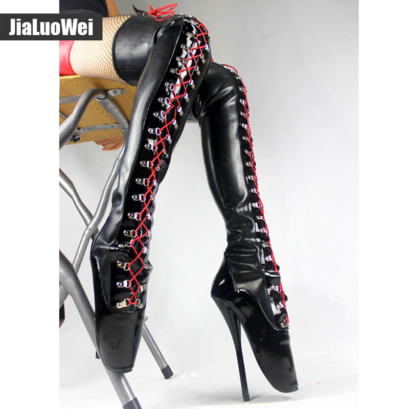 Jialuowei Fetish Heel Devious Spike Heel  Extreme 7 Fetish Heel Thigh High Laceup Boots  latex bllaet high heel boots remington ne3450