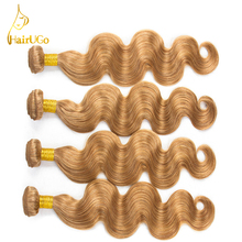 HairUGo Hair Pre-colored Brazilian Body Wave Hair Weave 4 Bundles Brazilian Human Hair #27 Color Non Remy Hair Extensions