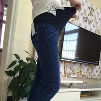 2018 Women clothing Cotton Maternity Clothes Elastic Waist Winter Jeans thickened With Velvet Pregnant Women Trousers Warm Pants