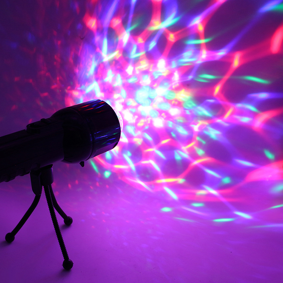 3W RGB Led DJ Stage Light Auto Rotating Projector Disco Club Ball Lamp Party Show DMX Lighting Effect Battery Powered