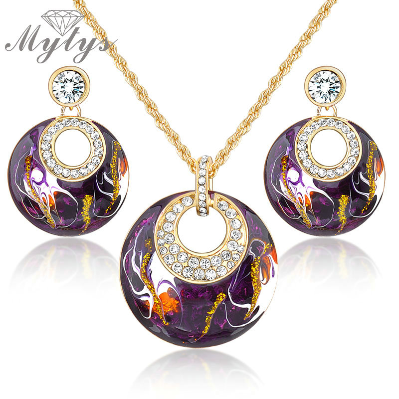 Mytys Retro Vintage Enamel Jewelry sets Earrings Necklace Set Purple Jewelry GP N943