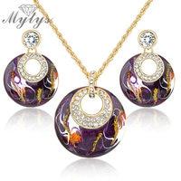 Mytys Retro Vintage Enamel Jewelry sets Earrings Necklace Set Purple Jewelry GP N943