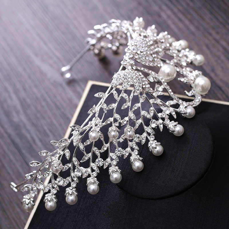 Gorgeous Wedding Tiara Simulated Pearls Jewelry Diadem Shiny Bridal Crown Big Queen Tiaras Rhinestone Crystal Hair jewelry Sets