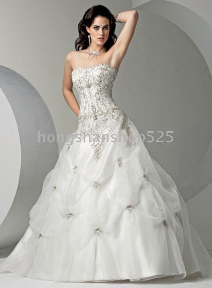 New Strapless silver sequin Beading ruched fabric Court train ...