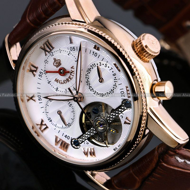 ORKINA Fashion Erkek Kol Saati Men s Rose Gold White Month Date Day Tourbillion Automatic Mechanical