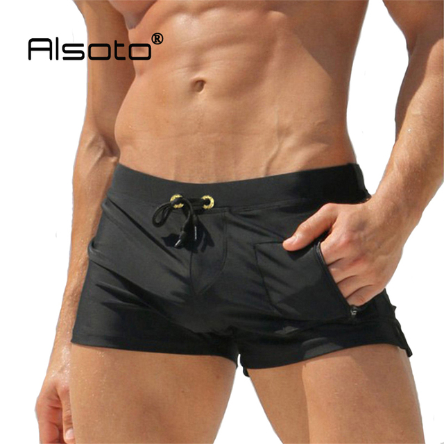 Summer Swimsuit for Men Swimwear Boxer Shorts Beach Surf Board Sexy Gay Penis Pouch Winter Swimming Sungas De Praia Homens