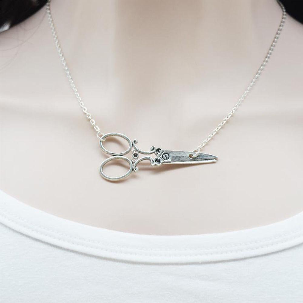Fashion Scissors Charm Necklace Silver Metal Pendant Chain Stylist Hair Dresser Jewelry