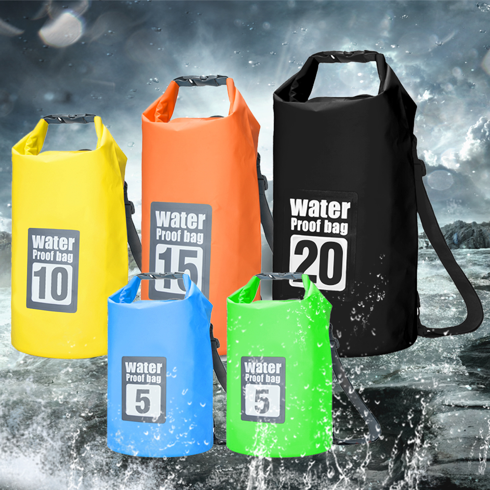 5/10 /15 /20L Waterproof Dry Backpack Roll-top Floating Bag 6.3'' Waterproof Phone Case Kayak Rafting Boating Trekking Equipment