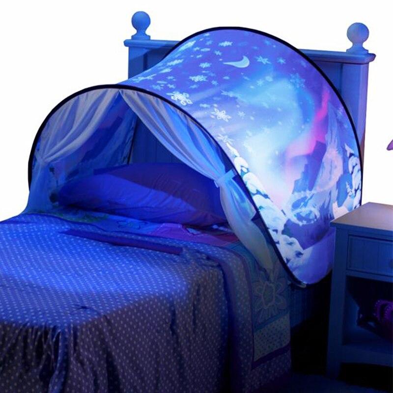 Дети мечтают Палатки детские pop up кровать палатка Единорог снежные Складная Playhouse Утешительный ночью спать открытый лагерь Типи