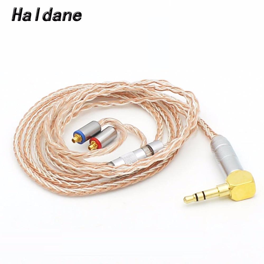 Livraison gratuite Haldane bricolage 8 Core écouteurs mise à niveau câble pour SE215 SE846 SE535 UE900 MMCX Audio mise à niveau argent plaqué câble
