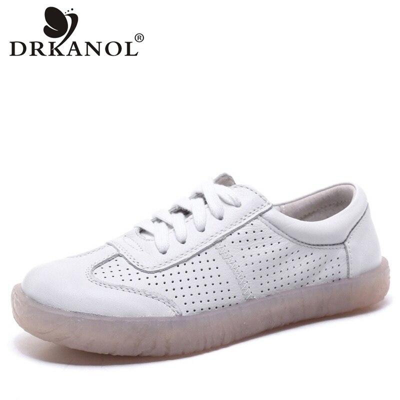 DRKANOL chaussures faites à la main femmes appartements en cuir véritable chaussures plates d'été respirant trou à lacets femmes enceintes chaussures décontractées taille 41