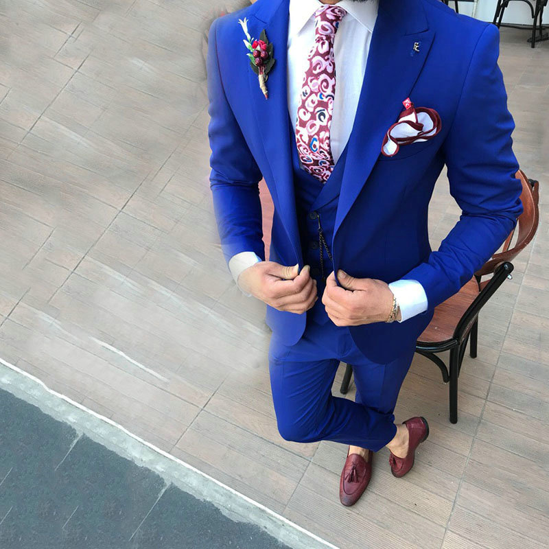 2019 Double Breasted Vest Royal Blue Slim Fit Mens Wedding Suit Prom Suits For Men 3 Pieces Groom Tuxedos Man Suit Costume Homme