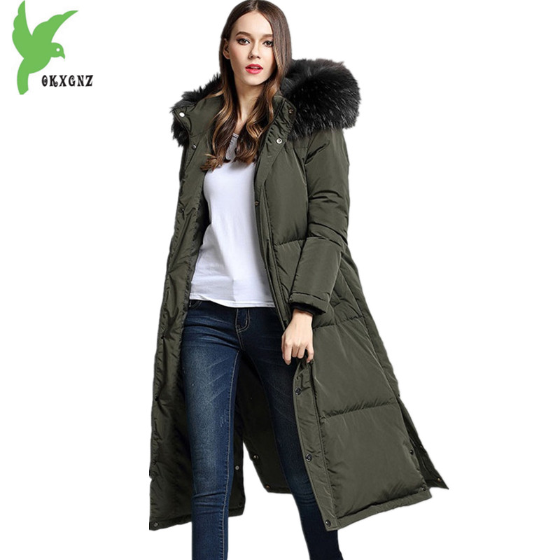 High-quality Women Winter Jacket Coat Down cotton Parkas Fashion Fur collar Hooded Jackets Plus size Thick Warm Coats OKXGNZ1147 100% white duck down women coat fashion solid hooded fox fur detachable collar winter coats elegant long down coats