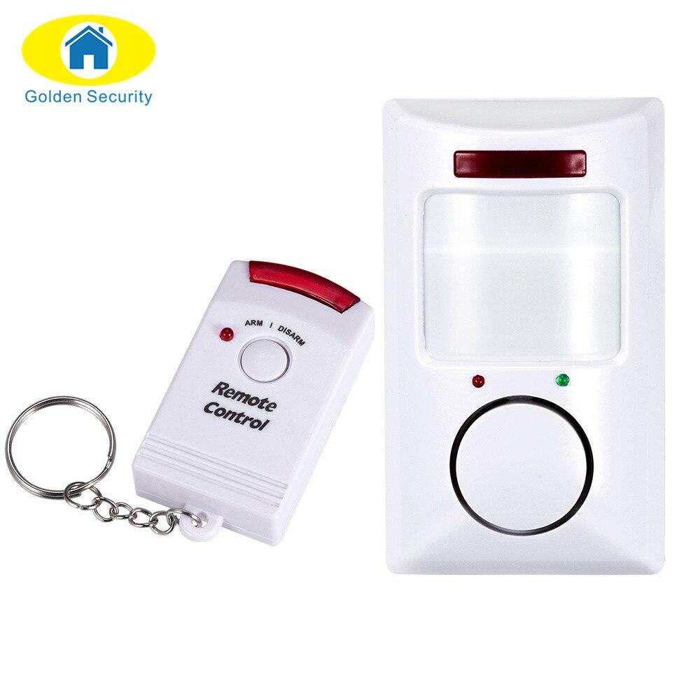 Detector de movimiento infrarrojo antirrobo de 110dB PIR Golden Security, sistema de alarma de seguridad para el hogar + 2 controladores