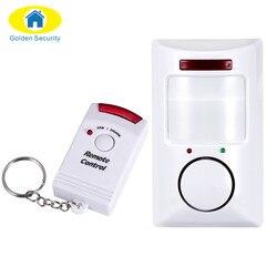 Golden security portátil 110db pir detector de movimento infravermelho anti-roubo detector de movimento sistema de alarme de segurança em casa + 2 controladores