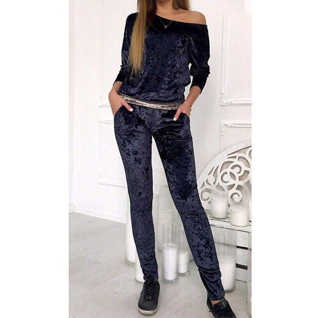 Velvet Tracksuit Women Two Piece Set Winter Casual Top + Pants Ladies Long  Sleeve Outfit Femme