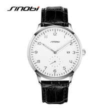 SINOBI Causal Calendar font b Men b font Wrist font b Watches b font Leather Watchband