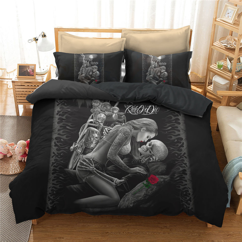 3D Bedspread Skull Bedding Sets Beautiful Black Bed Linen Motorcycle Couple Bed Set Women Sexy Duvet Cover Set Gothic Style Home
