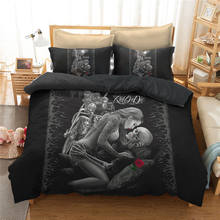 3D Bedspread Skull Bedding Sets Beautiful Black Bed Linen Motorcycle Couple Bed Set Women Sexy Duvet Cover Set Gothic Style Home(China)