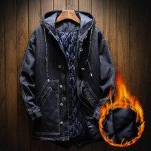 S-5XL lange männer jacke und mäntel Mode herren jeansjacke dicke warme  winter mantel männlichen cowboy baumwolle parka jeans jac. 0fcc2ae5be