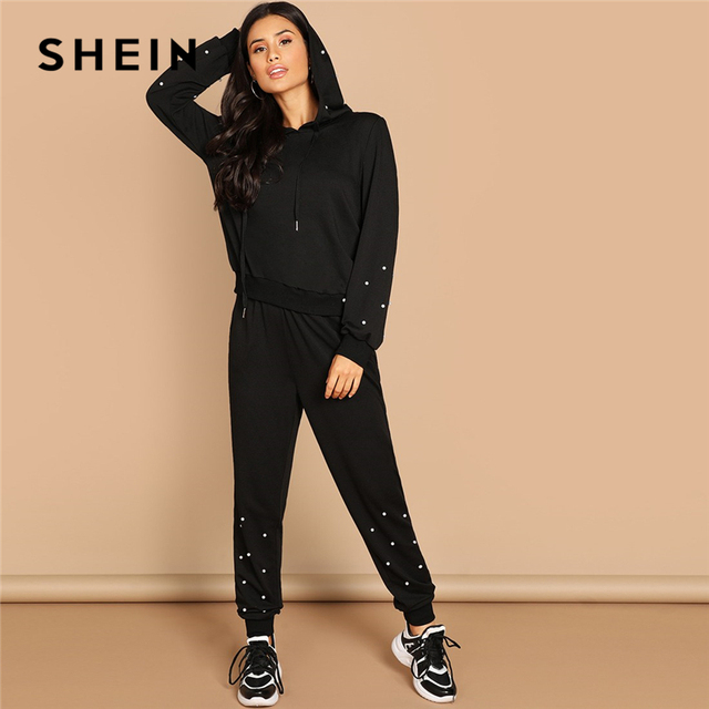 842f867199 SHEIN Black Casual Leisure Solid Pearl Beading Detail Hoodie Sweatshirt And  Carrot Pants Set Autumn Modern Lady Women Two Pieces