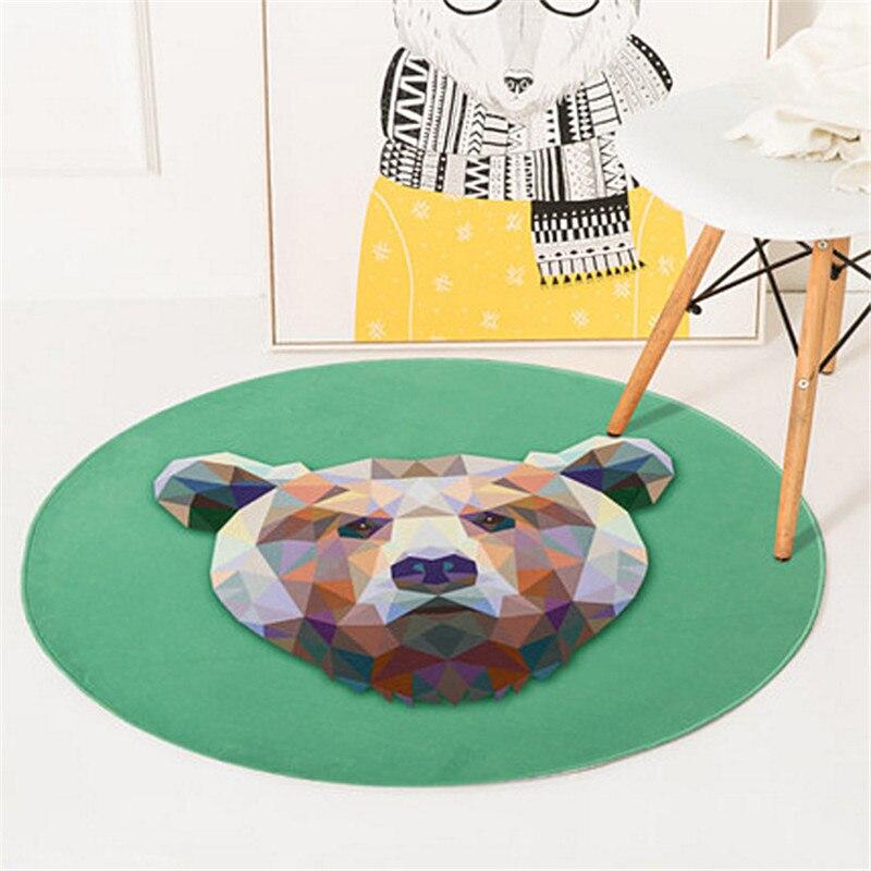 Round Carpet Lion Fox Cat Printed Soft Carpets Anti-slip Rugs Crystal velvet Computer Chair Mat Floor Mat Home Kids Room R600