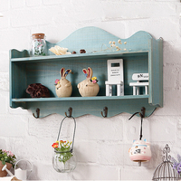 Vintage Wall Shelf Wooden Two Tier Hanging With Hooks Home Organization Curved Rim Decoration Painted Storage Display Shelf #2