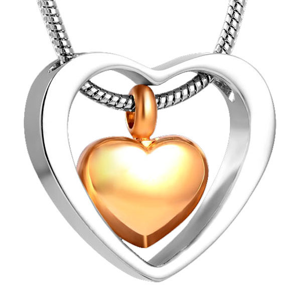 Double Hearts Memorial Pendant