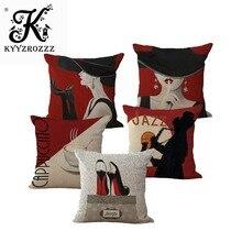 ファッション高品質コットンリネンロマンチックな赤ワインエレガントな女性装飾スロー枕ケースクッションカバーソファの家の装飾