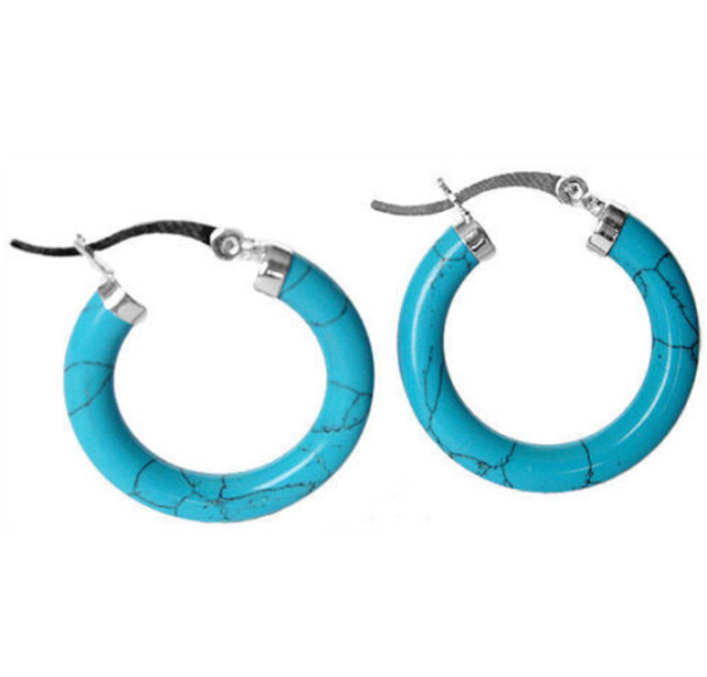 Wholesale free shipping >>Charming 925 sterling silver With Blue turquoises  Earring