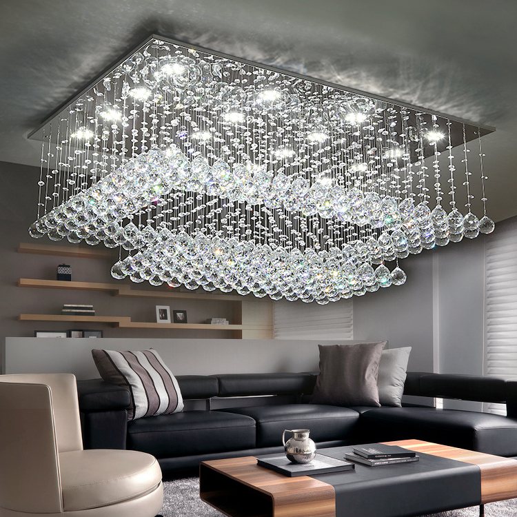 Youlaike modern crystal chandelier for ceiling large living room youlaike modern crystal chandelier for ceiling large living room flush mount led lighting fixture crystals home cristal lamps in chandeliers from lights mozeypictures Choice Image