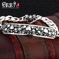 Beier 925 серебряный браслет звено цепи панк урожай польский череп браслет человек ручной цепи SCTYSL0084