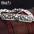 Beier 925 sterling silver bracelet link chain punk vintage polish skull bracelet man hand chain SCTYSL0084