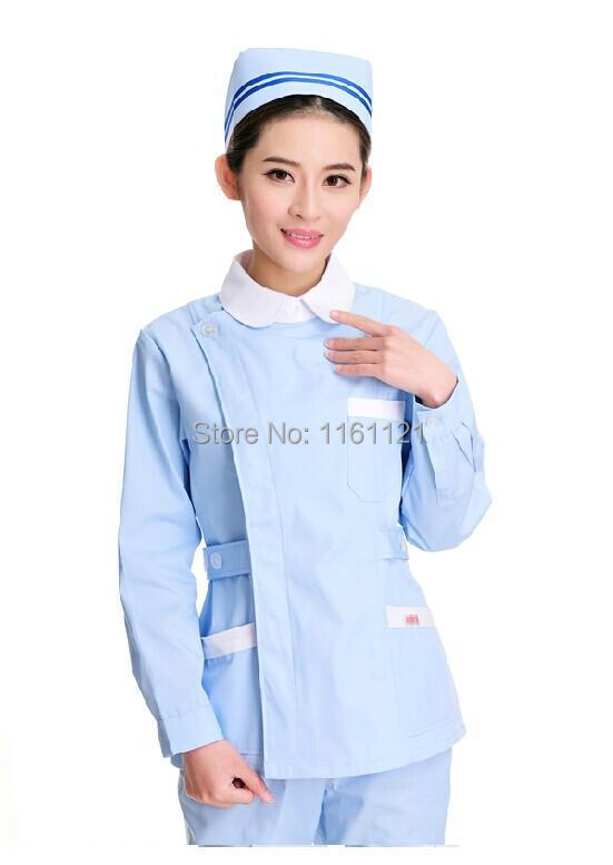 Autumn and winter new arrival women's long sleeve nurse uniform two pieces set clothes round white collar design for hospital