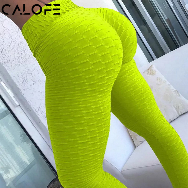 CALOFE 10 Colors Women Yoga Pants White Sport Leggings Push Up Tights Gym Exercise