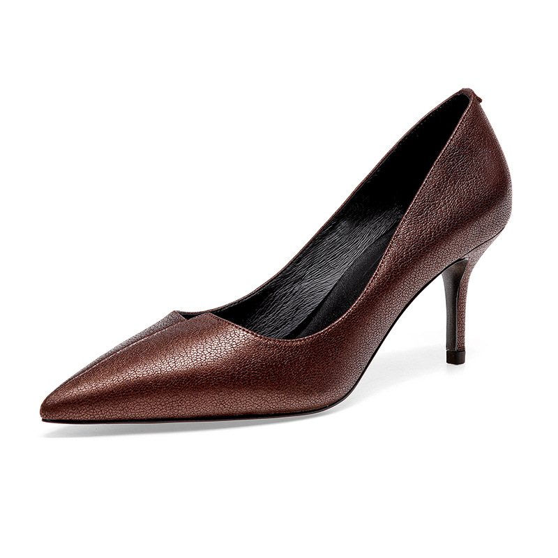 High-end brand-name full leather women's high-heeled shoes 2019 spring and summer shallow mouth stiletto T-single shoes women