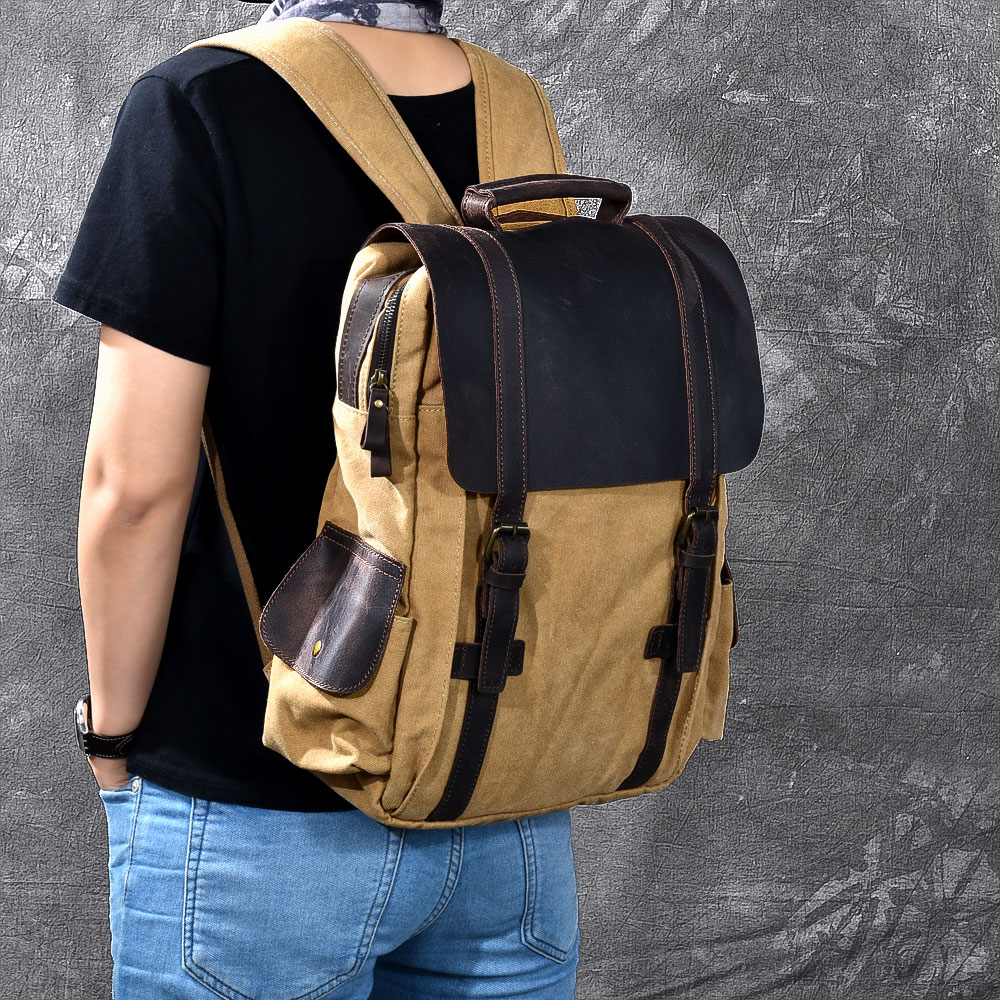 Vintage Military Canvas Backpack for Men Women Crazy Horse Leather Rucksack Large School Backpack Man Shoulder Bag Satchel umbro