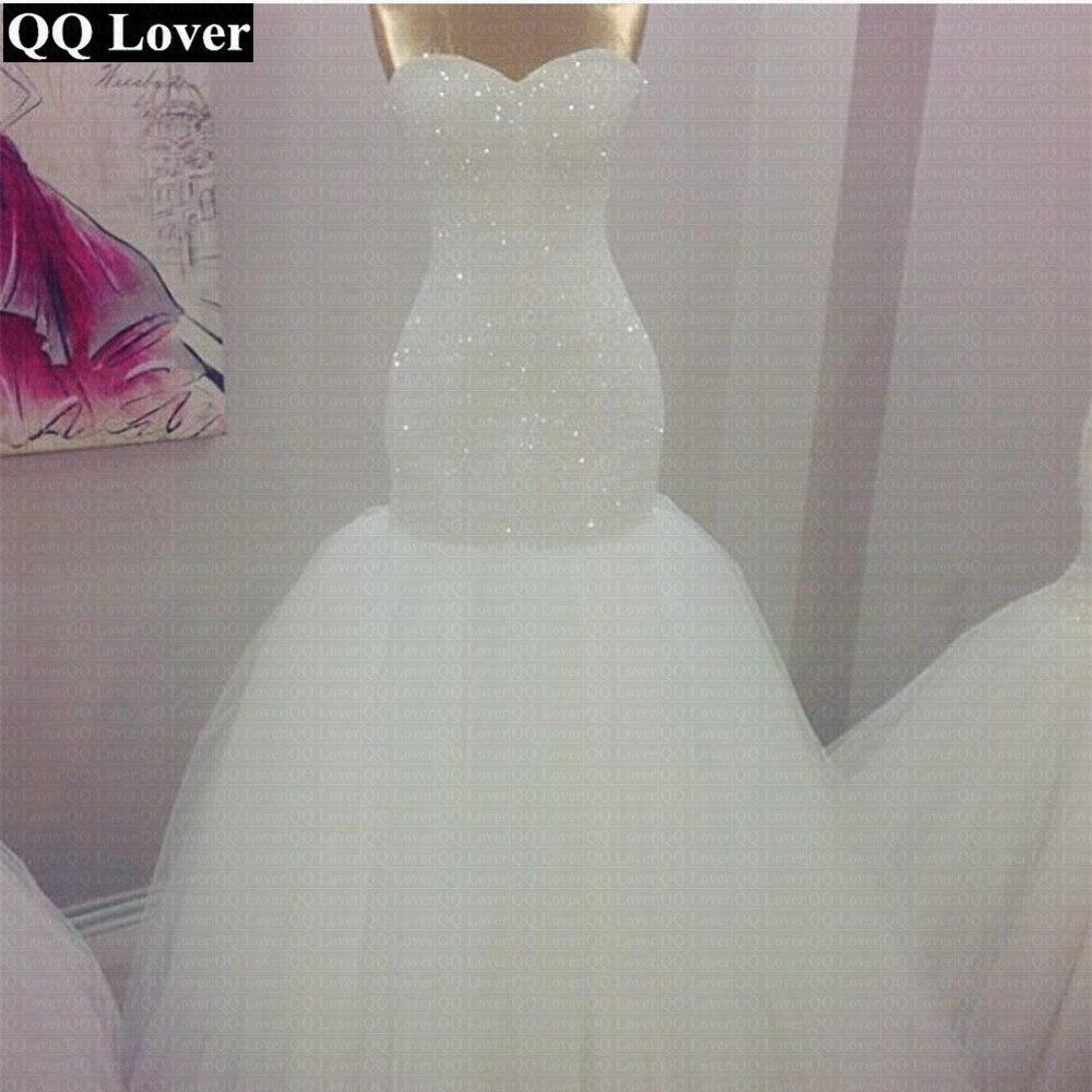 QQ Lover Full Beads Sweetheart Simple Mermaid Wedding Dress 2019 Wedding Gowns