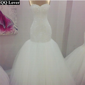 QQ Lover Full Beads Sweetheart Simple Mermaid Wedding Dress 2019 Wedding Gowns