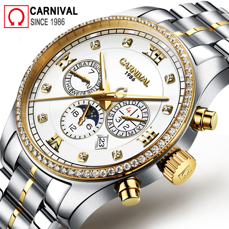 Carnival Moon Phase Automatic Watch Men Waterproof Mens Mechanical Watches Luminous Business Wristwatch Male Clock montre homme