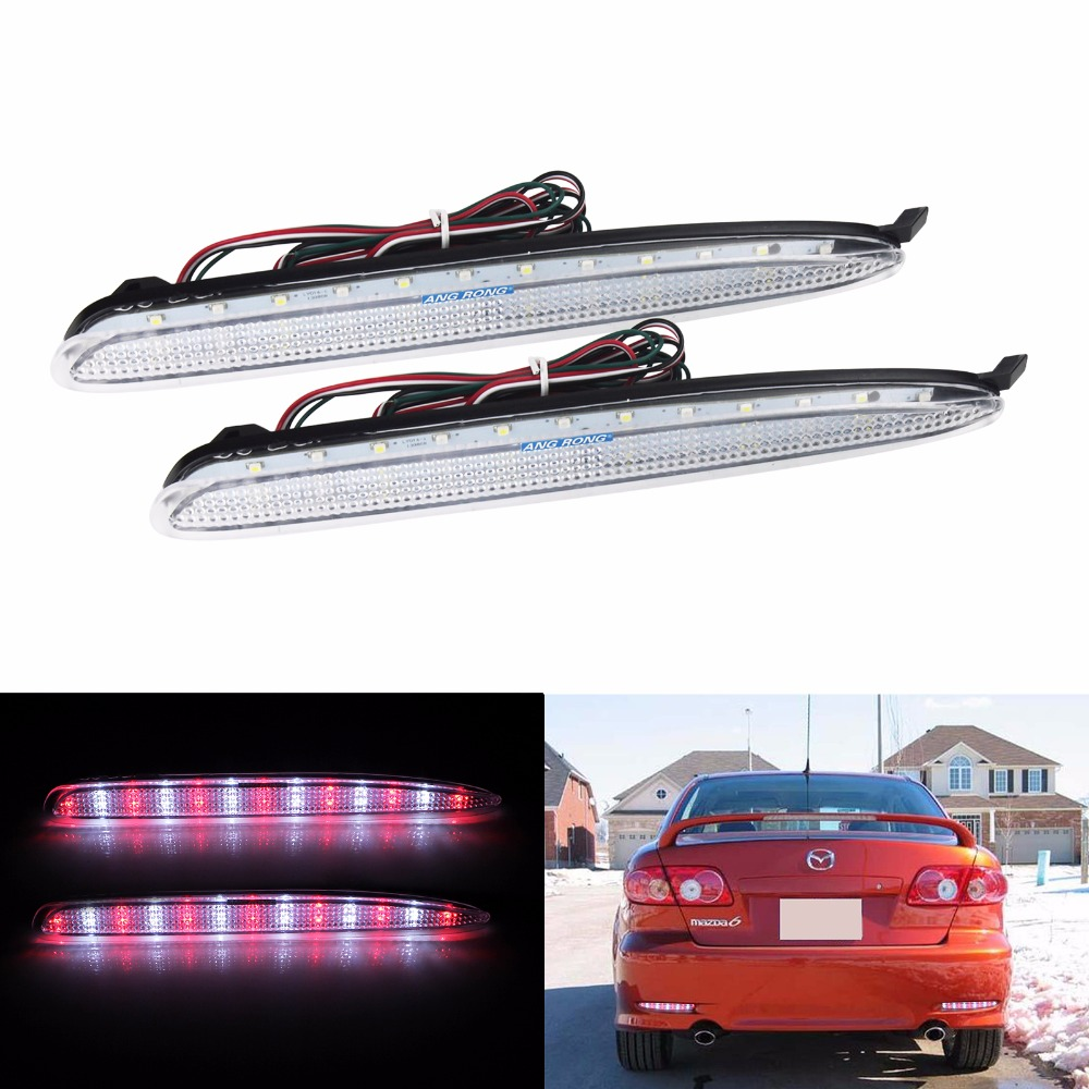 ANGRONG 2x Clear Bumper Reflector <font><b>LED</b></font> Reverse Tail Brake <font><b>Light</b></font> For GG <font><b>Mazda</b></font> <font><b>6</b></font> Mazda6 MPS Atenza Red/White(CA172) image