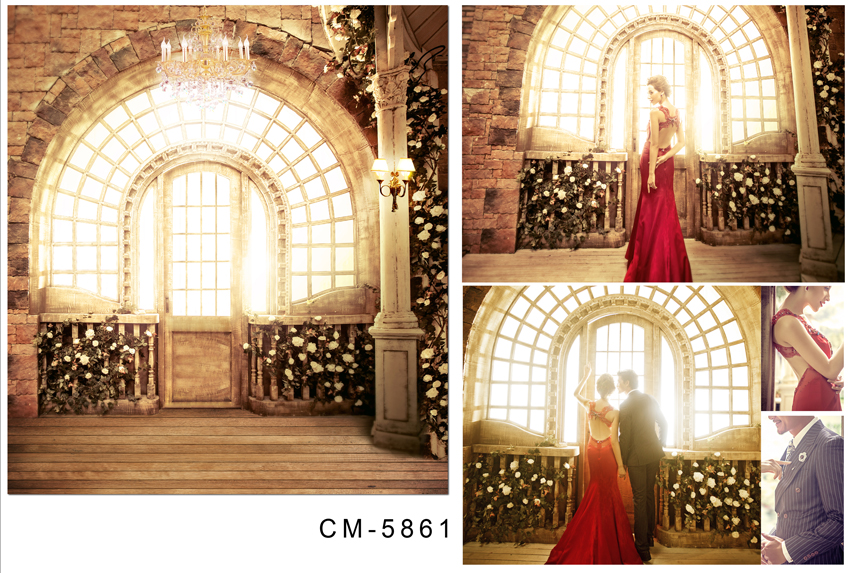 Customize vinyl cloth print 3 D Cathedral photo studio backgrounds for wedding portrait photography backdrops CM-5861