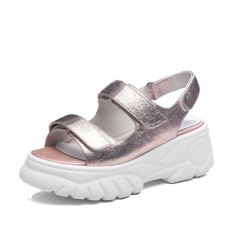 Salu 패션 플랫폼 여성 샌들 2019 고품질 아이 가죽 파티 캐주얼 신발 핑크 실버 라운드 발가락 신발 여자-에서하이힐부터 신발 의  그룹 3