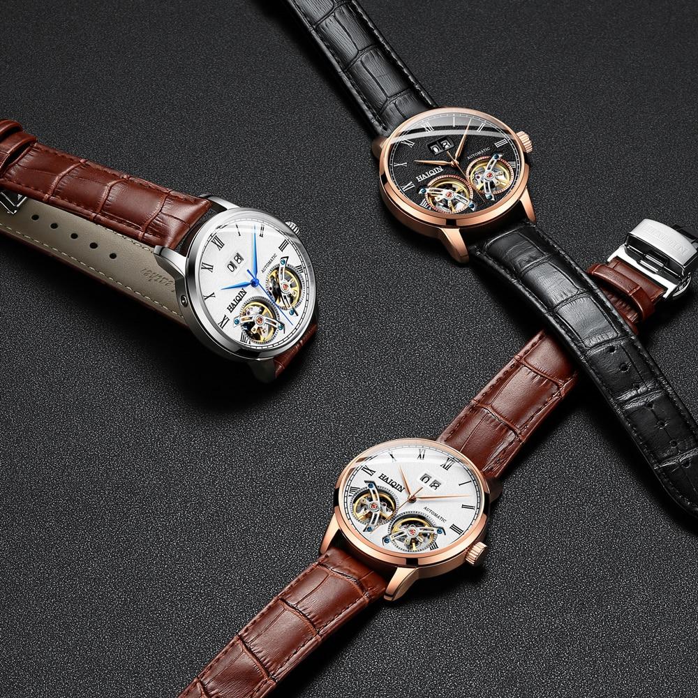 HAIQIN Men Watch Mechanical  luxury Business watch Frosted Tourbillon 50m Waterproof Male Wrist watch Reloj Mecanico de hombres