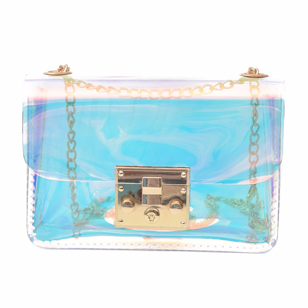 Women Summer PVC Mini Chain Bag Female Laser Transparent Shoulder Crossbody Bag Ladies Simple Shopping Tote Bag mini gray shaggy deer pvc quilted chain bag with cover real picture