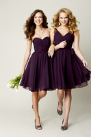 2013 New Hot Sale Cheap Sexy Sleeveless Ruched Chiffon Purple Knee Length Bridesmaid Dresses Short BO3615