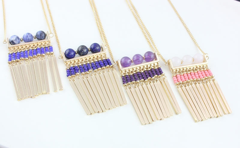 Round Rostone Stripe Metal Tassel Organ Pendant Necklace For Women Fashion Jewelry Wholesale