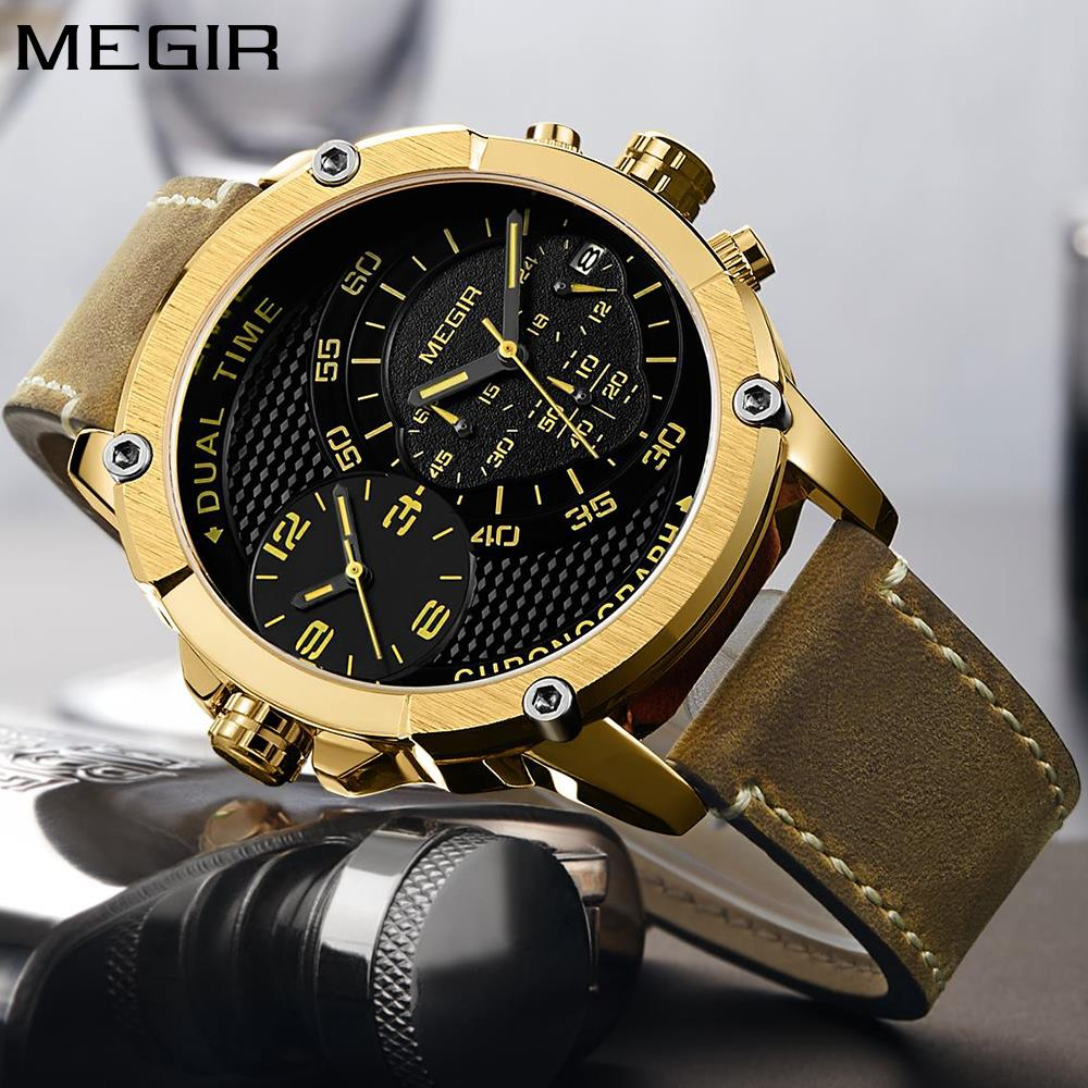 MEGIR Relogio Masculino Big Dial Men Watches Top Luxury Brand Black Quartz Military Wrist Watch Men Clock Men's Sports Watch New купить в Москве 2019